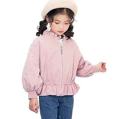 e4c3edd4684e0 Burning Go キッズ ジャケット 女の子 長袖 パール付き ブルゾン ジャンパー ジップアップ ストリート系 スプリングコート