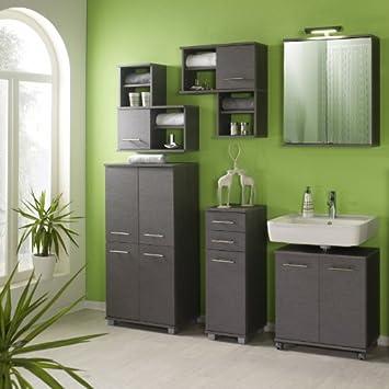 Komplett Badmobel 6 Tlg Set Esche Grau Badezimmer Badezimmermobel