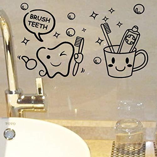 (Best Choise Product Modern Lovely Cost Price Brush Teeth Cute Home Decor Wall s Kids Bathroom washroom Laundry Room Waterproof Mural)