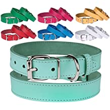 """BronzeDog Leather Dog Collar, Puppy Handmade Genuine Leather Collar for Dogs, Small Medium Large, Pink Red Blue Green Turquoise White Yellow (Neck Size 15"""" - 17"""", Turquoise)"""