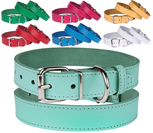 BronzeDog Handmade Genuine Leather Dog Collar, Puppy Leather Collar for Dogs, Small Medium Large, Pink Red Blue Green Turquoise White Yellow (Neck Size 8