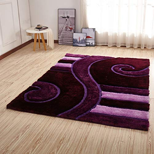 Msrugs Shaggy 3D Purple Area Rug 5' x 7'