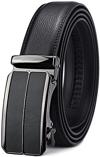 Mens Gift Belt Buckle (Men's Belt,Bulliant Leather Ratchet Belt for Men with Sliding Buckle 1 3/8