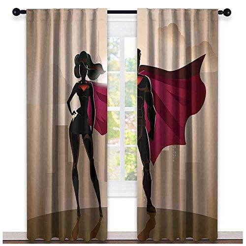 hengshu Superhero, Curtains x Pattern, Super Woman and Man Heroes in City Solving Crime Hot Couple in Costume, Curtains for Party Decoration, W72 x L96 Inch Beige Brown Magenta -