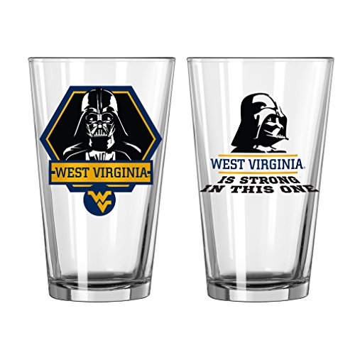 NCAA West Virginia Mountaineers Star Wars Pint Glass, 16-ounce, 2-Pack