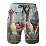 DELIDAA Animal Love Llama Wedding Men Boy's Casual Quick-Drying Beach Pant Swim Surf TrunksX-Large