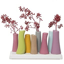 Chive - Pooley 2, Ceramic Flower Vase, 8-Tube Shape, Magenta Pink with Chartreuse and Blue Assortment