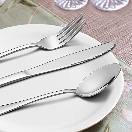 Silverware Set with Serving Pieces, LIANYU 48-Piece Flatware Set Service for 8, Stainless Steel Cutlery Eating Utensils, Mirror Finish, Dishwasher Safe by LIANYU (Image #3)