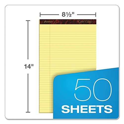 Ampad Gold Fibre Writing Pads, 8-1/2'' x 14'', Legal Rule, Canary Paper, 50 Sheets, 12 Pack (20-030R) by Esselte (Image #1)