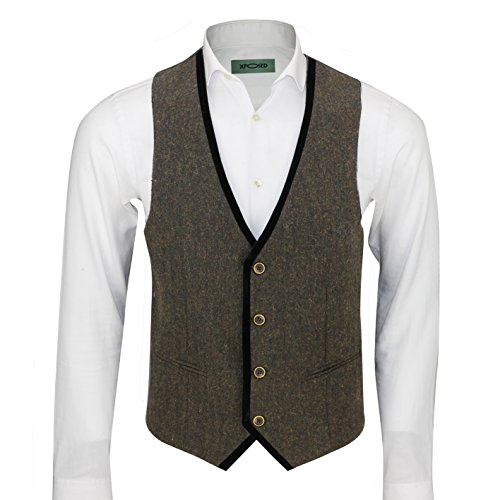 XPOSED Mens Vintage Tweed Brown Blue Green Waistcoat Black Velvet Trim Slim Fit Smart Casual Vest [Chest UK 36 EU 46,Brown] (Vintage Velvet Vest)