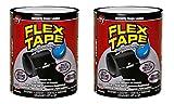 Flex Tape Rubberized Waterproof Tape, 4'' x 5', Black (2 Pack)