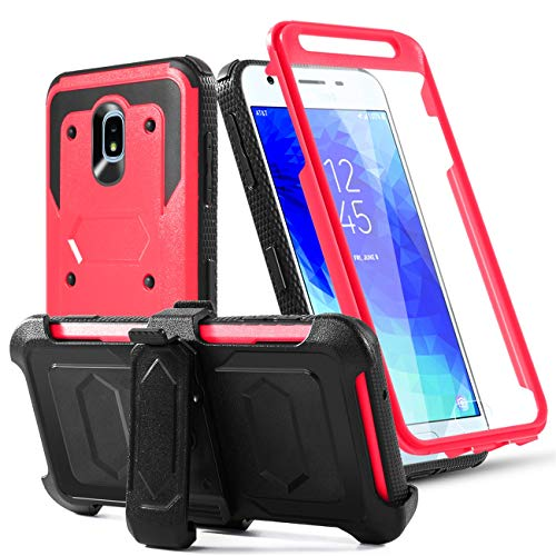 2nd Gen Full Body - Phone Case for Samsung Galaxy J7 2018/J7 Star/J7 Grown/J7 V 2nd Gen/J7 Refine/J7 Aura/J7 Prime/J7Aero Built-in[Screen Protector] with Belt Clip[Kickstand] Heavy Duty Full Body Protective Case,Red