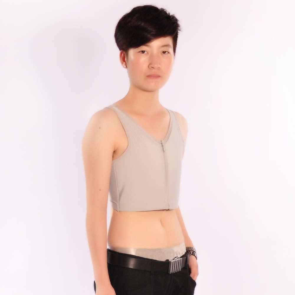 BaronHong Women Lesbian Tomboy Zip Up Tank Top Vest Chest Binder Stronger Bandage