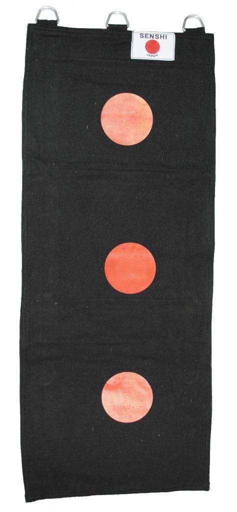 Senshi Japan mur sac 3Section en toile (Noir avec cibles) Wing Chun 3Sac