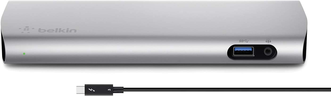 Belkin Thunderbolt 3 Express Docking Station With 80 Cm Active Cable Connects Up To 8 Devices Multiple Usb C And Usb Slots Supports Single 5k Dual 4k Displays Compatible With Mac Only Aluminium