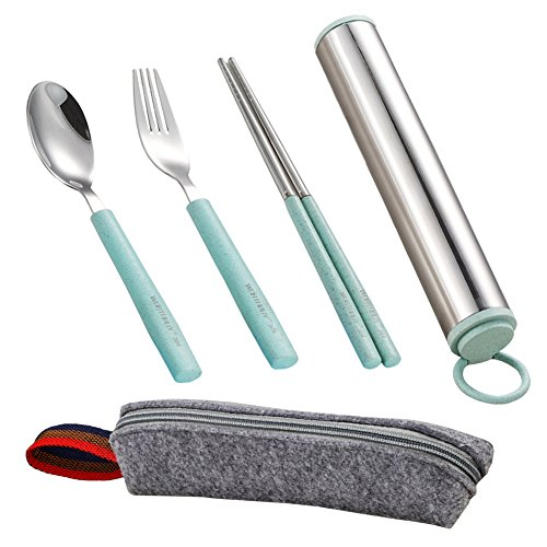 Wikor Flatware 3Pieces Stainless Steel Flatware Set Fork Spoon Chopsticks Set Travel Camping Outdoor Office Dining Portable Flatware set with Stainless Steel Case and Reusable Bag