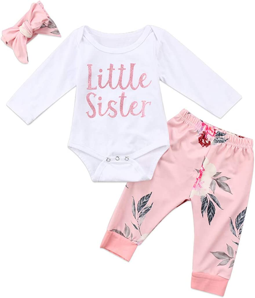 3PCS Newborn Infant Girl Clothes Little Sibling Long Sleeve Cotton Romper Tops+Floral Pant Legging Headpiece Outfit Kid Clothing Arranged Full Moon Gift