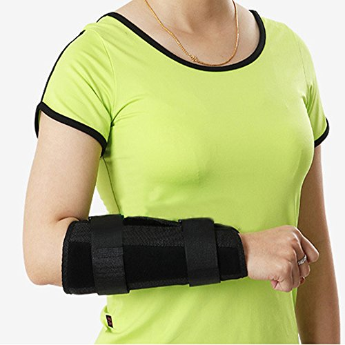 Denshine Wrist Forearm Splint Adjustable Wrist Forearm Splint External Fixed Support Forearm Brace Fixing Orthosis for Sports, Sprains, Arthritis and Tendinitis, M, Black