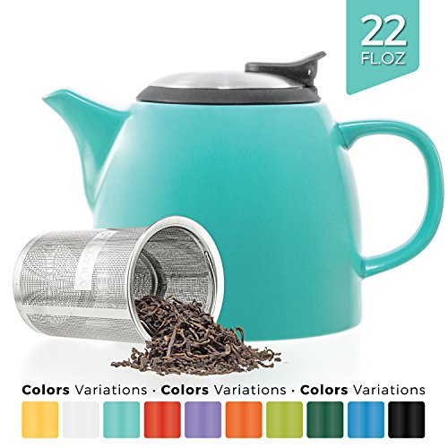 Tealyra - Drago Ceramic Small Teapot Turquoise - 22oz  - Wit