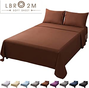 LBRO2M Bed Sheet Set Queen Size 16 Inches Deep Pocket 1800 Thread Count 100% Polyester Microfiber Sheet,Bedding Super Soft Hypoallergenic Breathable