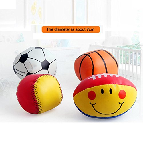 fan products of Livoty 4PC Baby's Cotton Soft Ball Football smiling Rugby Squeezed Eduactional Toys (Small)