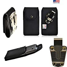 Rugged Heavy Duty Black Canvas Duty Belt Case Vertical with Metal Clips fits Motorola moto G with the Otterbox Defender or Commuter Case on it. Snaps shut for extra protection. Great for Police, Contractors, Landscapers and Tough Jobs.