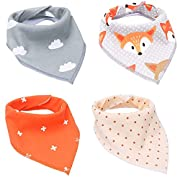AlJoLife 4 Pack Soft and Absorbent, Hypoallergenic 100% Organic Cotton Baby Bandana Drool Bibs with Snap Newborn Registry Gift Set for Drooling and Teething Feeding (KSJ10)