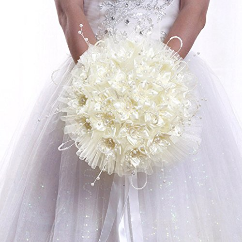 Qianle Romantic Wedding Rose Flower Bridal Bouquet Pearls Silk Lace Bouquet