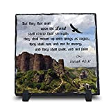 But They That Wait Upon The Lord Shall Renew Their Strength Isaiah 40:31 (7.5X7.5, KJV) | Superior Religious Inspirational Home Décor By Inspiragifts | Christian Home Plaque Stone Gift For Sale
