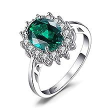 JewelryPalace Anillo de Compromiso Princesa Diana William Kate Middleton 2.5ct Halo Oval Nano Ruso imitado Esmeralda Creado Plata de ley 925 Tamaño 11