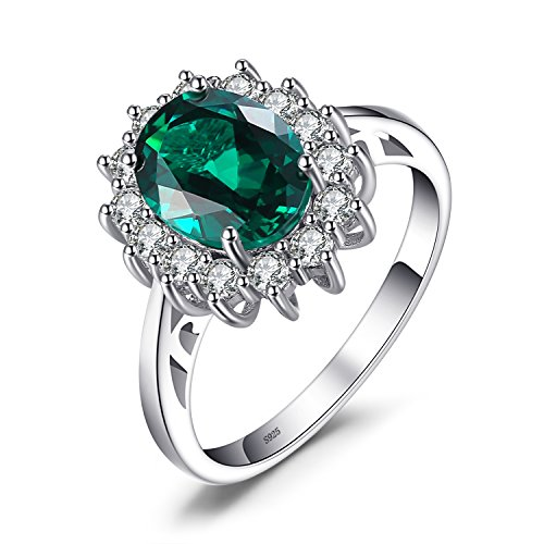 JewelryPalace Gemstones Simulated Emerald Birthstone Halo Solitaire Engagement Rings for Women for Girls 925 Sterling Silver Ring Princess Diana William Kate Middleton Size 6 - Lab Created Emerald Ring