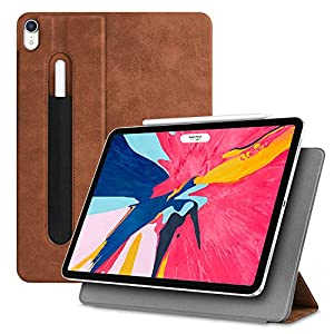 "Fintie Magnetic Slim Case for iPad Pro 11"" 2018 [Supports 2nd Gen Pencil Charging Mode] - Lightweight Stand Cover [Secure Pencil Pocket] Auto Sleep/Wake, Magnetic Attachment, Rustic Brown"