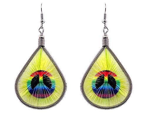 Mia Jewel Shop Peace Sign Symbol Graphic Teardrop Thread Dangle Earrings (Rainbow/Yellow) ()