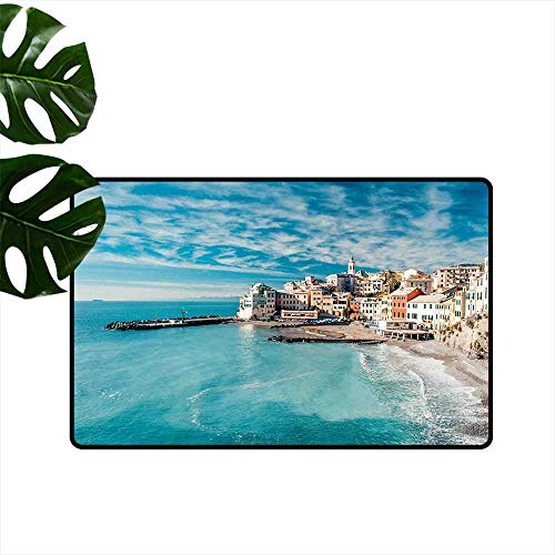- Anzhutwelve Italy,Kitchen Floor mats Panorama of Old Italian Fishing Village Beach in Old Province Coastal Charm Image Low-Profile Mats for Entry W 20