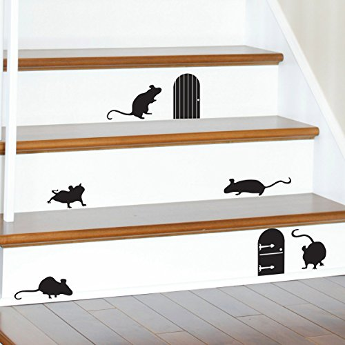 YINGKAI Happy Halloween Animal Mice Doors Silhouettes Living Room Vinyl Carving Wall Decal Sticker for Halloween Party Home Window -