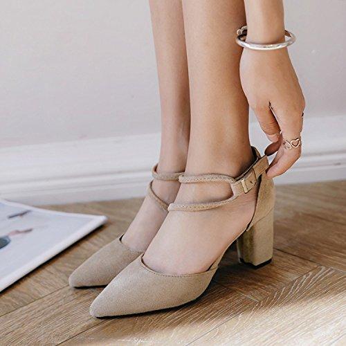 ZHUDJ Zapatos De Primavera Primavera Zapatos con Tacones Altos Roma Todos Crudo-Match Marea De Verano,Caqui,38 Thirty-eight|Khaki
