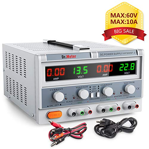 Dr.meter Triple Linear Variable DC Power Supply, Adjustable 30V/5A, Series and Parallel Mode, Input Voltage 104-127V, with Alligator Leads to Banana and AC Power Cable (HY3005F-3) ()