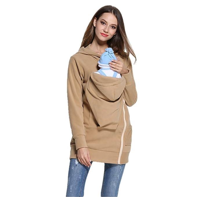 449f25acf2b06 Evey & Jaxten Women Maternity Kangaroo Baby Carrier Zip-Up Hoodie Coat  Sweatshirt for Pregnant