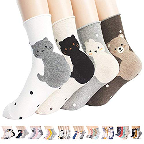 Womens Casual Socks-Cute Crazy Lovely Animal Cats Good for Gift One Size Fits All,Snow Cats B,One Size