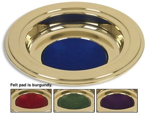 Brass Tone Offering Plates (Burgundy Felt Pad) (Tone Silver Plate)