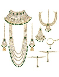 Aheli Traditional Wedding Indian Bridal Jewelry Set Long Choker Necklace Earrings Maang Tikka Nath Paasa Hath Phool in Faux Kundan Beads