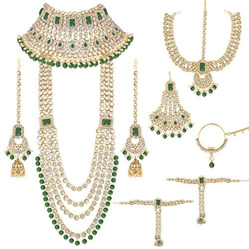 Aheli Traditional Wedding Indian Bridal Jewelry Set Long Choker Necklace Earrings Maang Tikka Nath Paasa Hath Phool in Faux Kundan Beads (Green) (Best Selling Perfumes For Ladies In India)