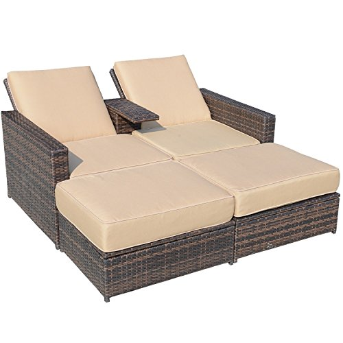 - Outsunny Outdoor 3-Piece PE Rattan Wicker Patio Love Seat Lounge Chair Set