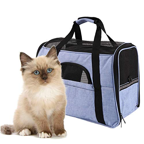 - HALOViE Airline Approved Pet Carrier for Cats Small Dogs, Soft Sided Collapsible Travel Bags Tote Fits Small Medium Animal Puppy Kitty