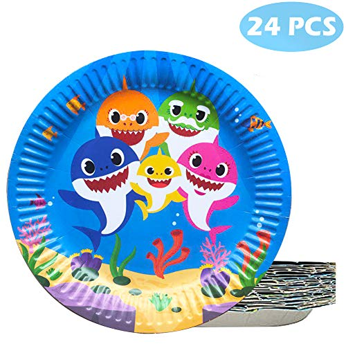 (24 Pcs Baby Cute Shark Cake Plates Disposable Plates for Birthday Celebration)