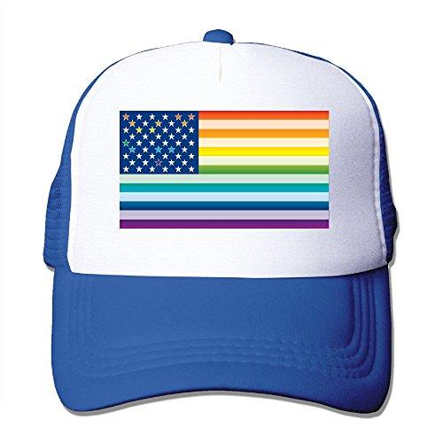 Li2u-id Men's Gay Pride Rainbow American Flag Child's Cap Adjustable Baseball Caps Mesh ()
