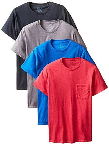 byFruit of the Loom Fruit Of The Loom Men's Pocket Crew Neck T-Shirt (Pack Of 4) (Assorted Colors, 3X-Large/54-56