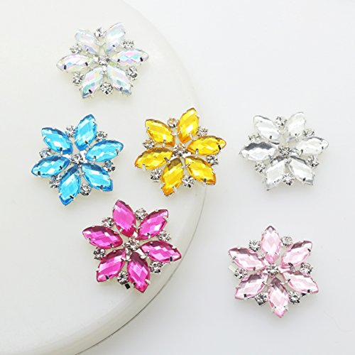 xinxi New 18pcs (mix 9 Color) 1 inch Handmade flower-shaped crystal rhinestone buttons Acrylic buttons Invitation decoration Wedding Supply Gift Wrap Hairbow Center