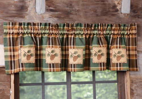 Valance Pinecone (Wood River Pinecone Patch Lined Valance)