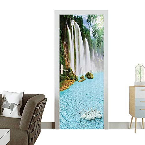 (Homesonne Door Sticker Wallpaper Grand Waterfall with Swans in The Lake Sunny Nature Fashion and Various patternW38.5 x H77 INCH)